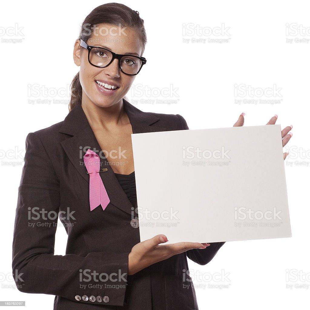 Pink ribbon woman with a blank sign stock photo