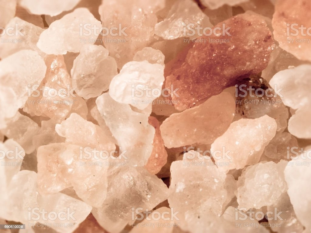 Pink rock salt crystals stock photo