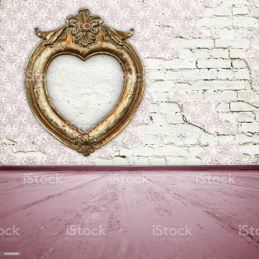 Pink Room Interior With Gold Frame royalty-free stock photo