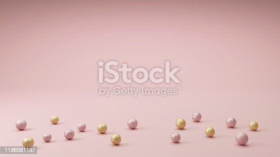 istock Pink room, many balls, spheres in gold and pink pastel colors in different sizes and textures. Beautiful minimal interior design with space for text, 3d. 1136581197
