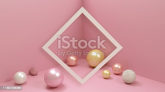 istock Pink room with beautiful balls in different colors and textures, pastel colored image. Trendy interior in pastel color, frame for text and minimal design. 1136239089