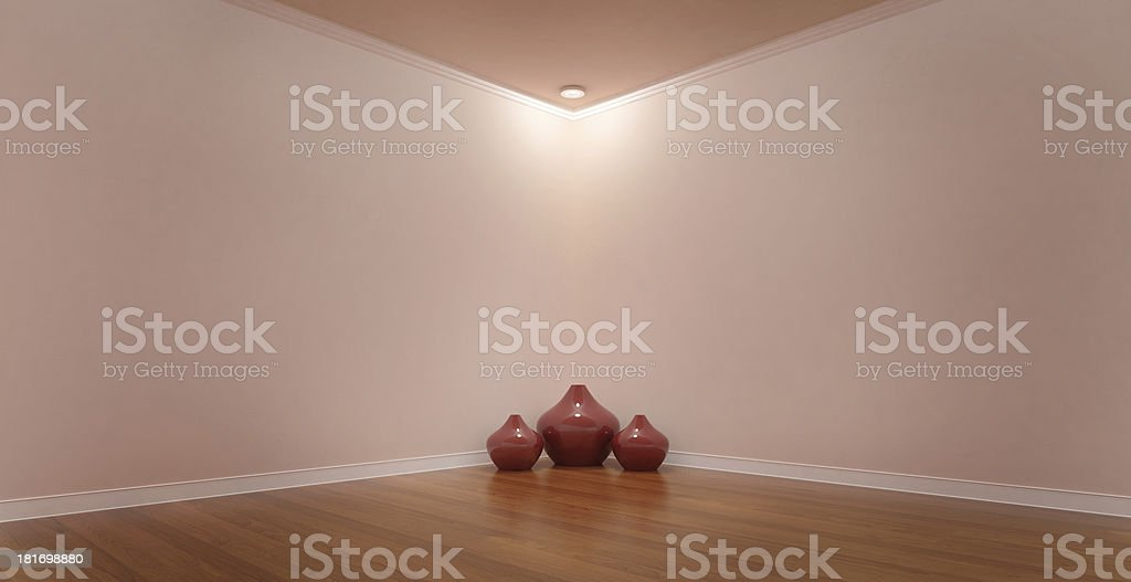 Pink Room With Spotlight In A Corner Vase Addition Stock Photo