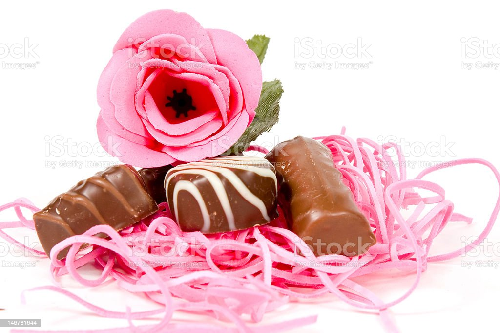 pink rose and chocolate for valentine royalty-free stock photo