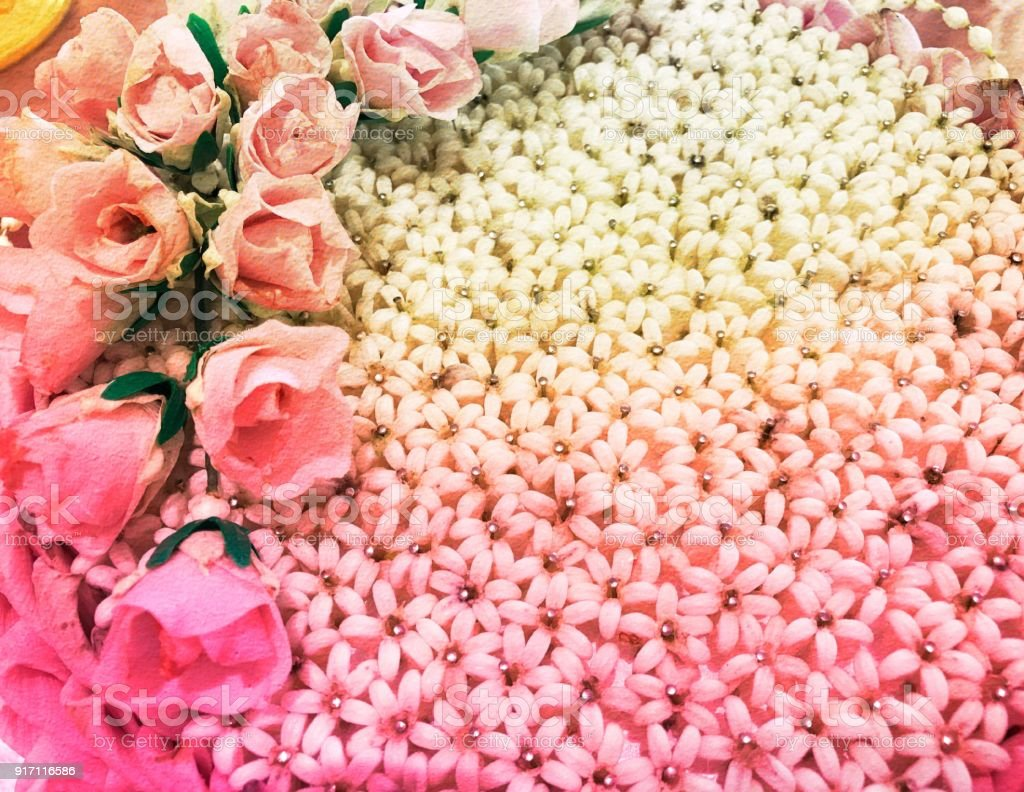 Pink Rose And Small White Flower Background Stock Photo More