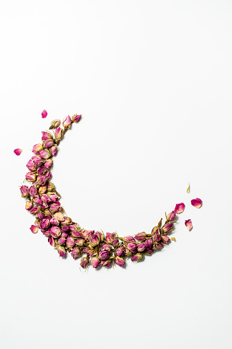 Scattered pink rose buds on white background