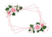 istock Pink rose flowers and green leaves in a floral corner arrangement and a frame 1025575114