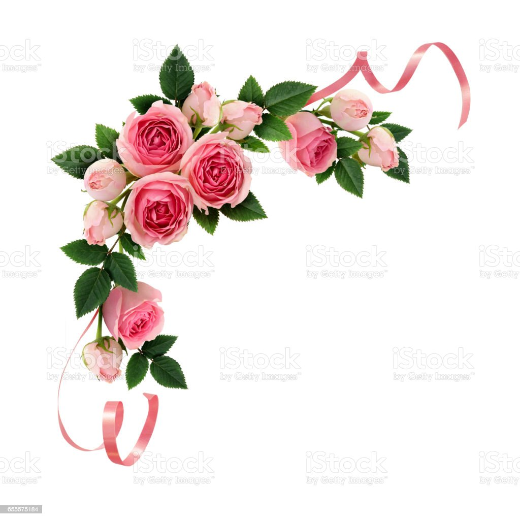 Pink rose flowers and ribbons corner arrangement stock photo
