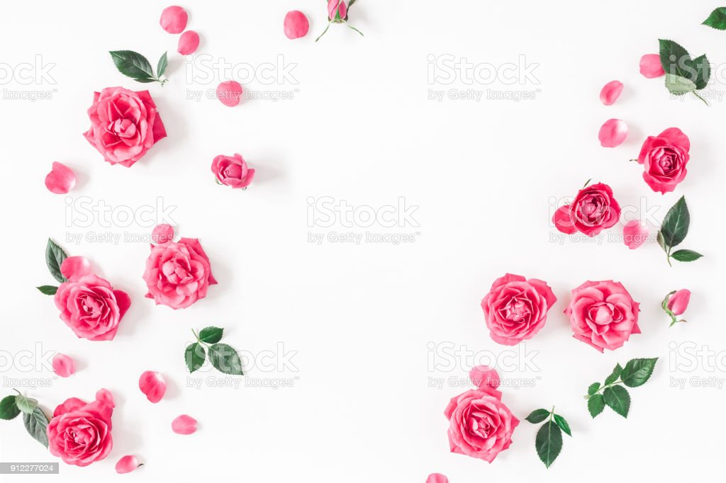Flowers composition. Frame made of pink rose flowers on white...