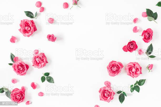 Pink rose flowers on white background flat lay top view picture id912277024?b=1&k=6&m=912277024&s=612x612&h=v llfkn6hup 1dtjpmojy1rxz9xnj4e1envwum82rfi=