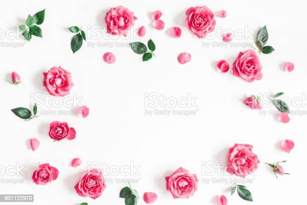 Pink rose flowers on white background flat lay top view picture id931122970?b=1&k=6&m=931122970&s=612x612&h=mo896nch2fb4hifvaewbkuzg  xmvcf8kwnhrkiu7yg=