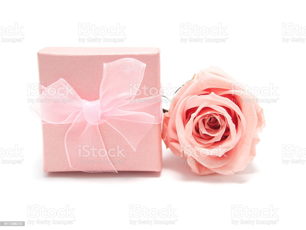 Pink Rose With Gift Box On White Background Stock Photo & More ...