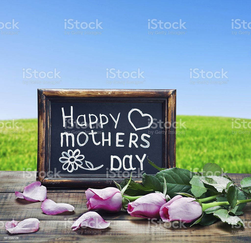pink roses and congratulations on Mother\'s Day on the background field