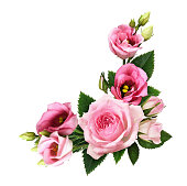 istock Pink roses and eustoma flowers and buds in a floral corner arrangement 1167984694