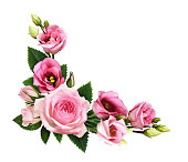istock Pink roses and eustoma flowers and buds in a floral corner arrangement 1167984722