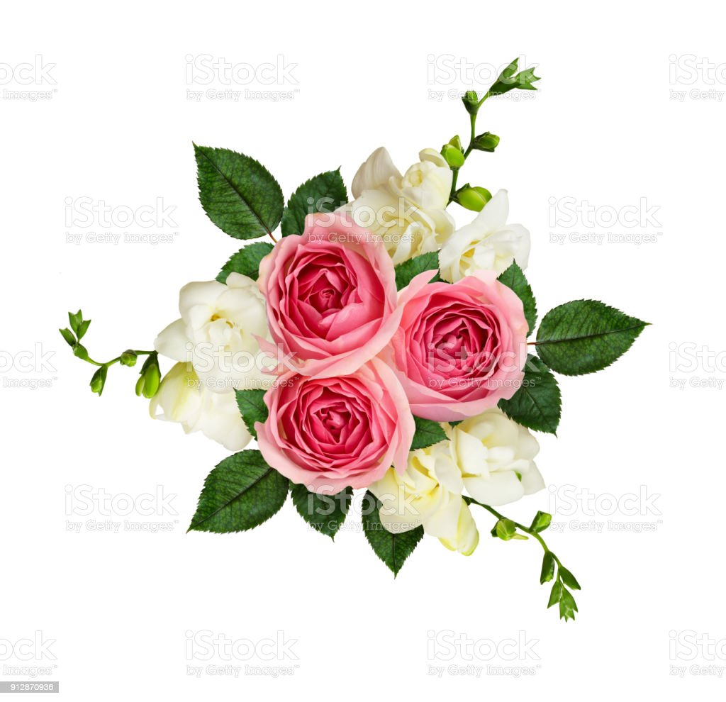 Pink roses and freesia flowers in a bouquet stock photo more pink roses and freesia flowers in a bouquet royalty free stock photo izmirmasajfo