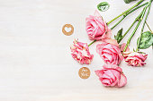 istock Pink roses and sign with message for you , heart 504046214