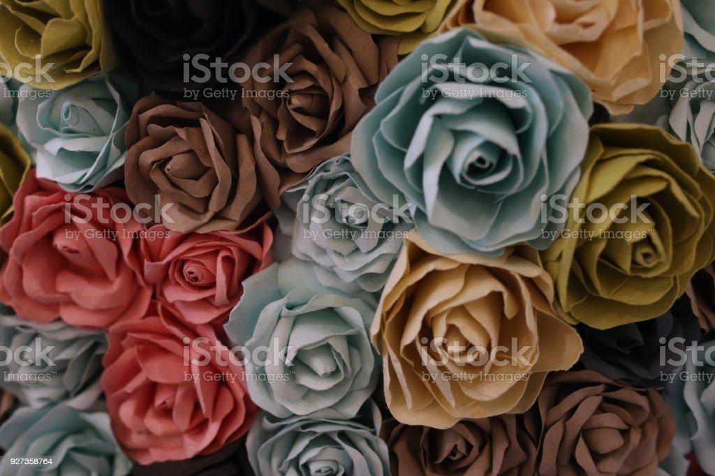 Pink roses background. Rose Bouquet and Hearts texture .Valentine or Wedding. - Royalty-free Bouquet Stock Photo
