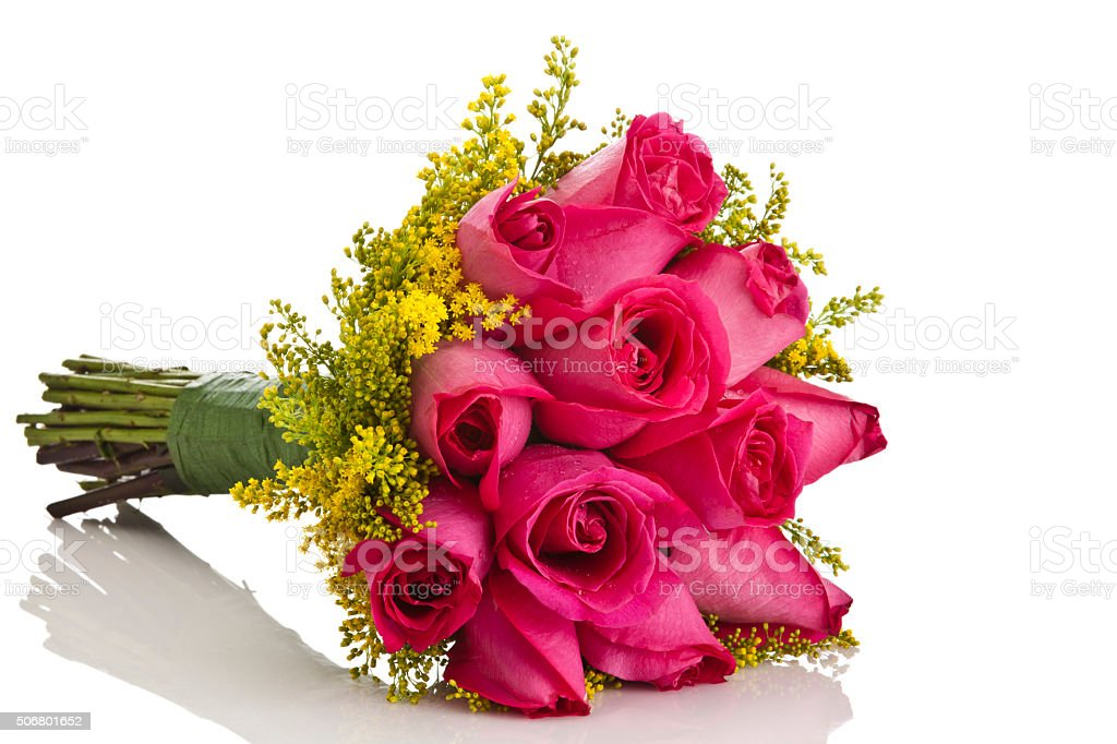 Pink roses bouquet on reflective white background stock photo