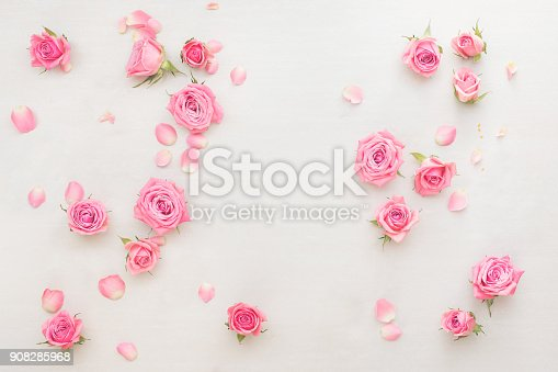 istock Pink roses buds and petals scattered on white background 908285968