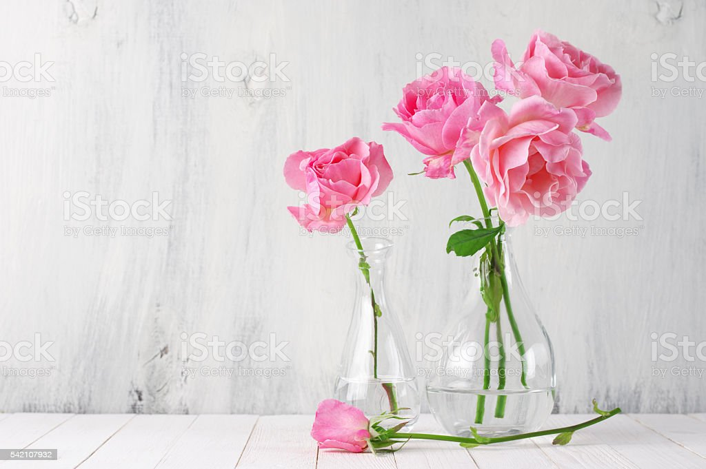 Pink Roses In Vases Stock Photo More Pictures Of Blossom Istock