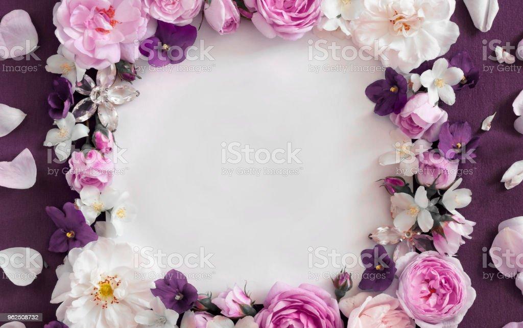 rosas cor de rosa em um fundo vermelho, lugar para uma inscrição - Foto de stock de Beleza royalty-free