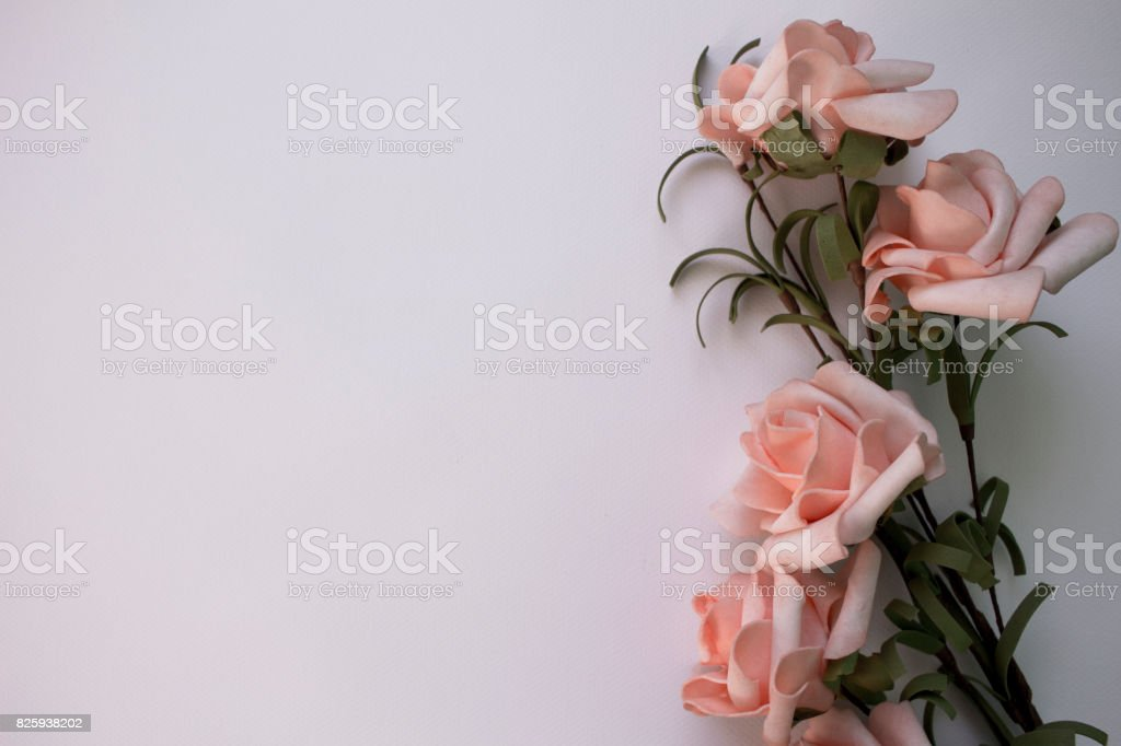 Pink Roses On Watercolor Paper Flat Lay Table With Gentle Floral