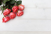 istock Pink roses on white wooden background. Floral frame, Mothers day, st. Valentines day roses, Bouquet of pink roses, Floral background image with copy space for text 1193507403