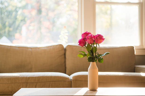 Pink roses with modern furniture – Foto