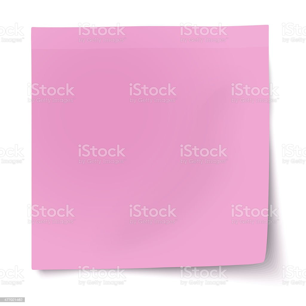 Pink, rosy sticky note with turned up corner stock photo