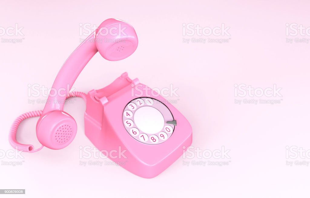 Pink Rotary Phone royalty-free stock photo