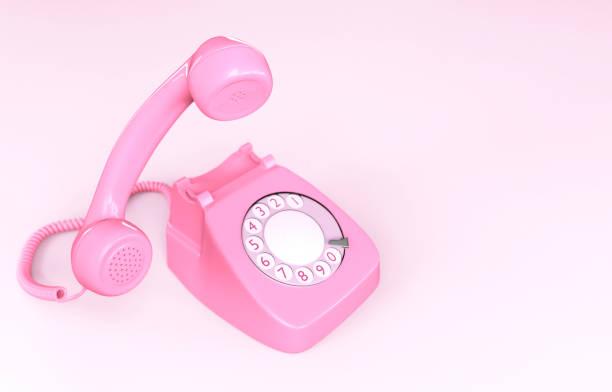 Pink Rotary Phone stock photo