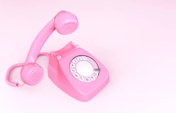 Pink Rotary Phone stock photo