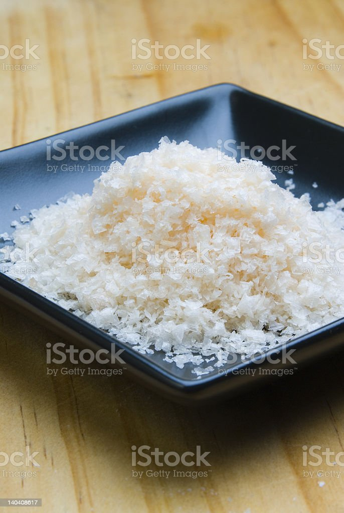 Pink Salt from Murray River Australia in black dish stock photo