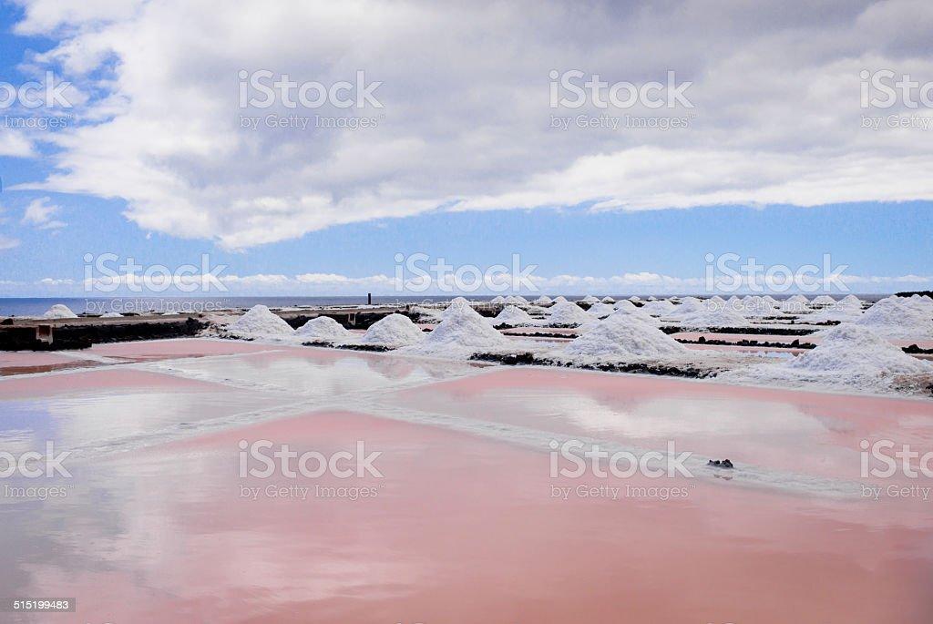 Pink salt pans at Punta Fuencaliente stock photo