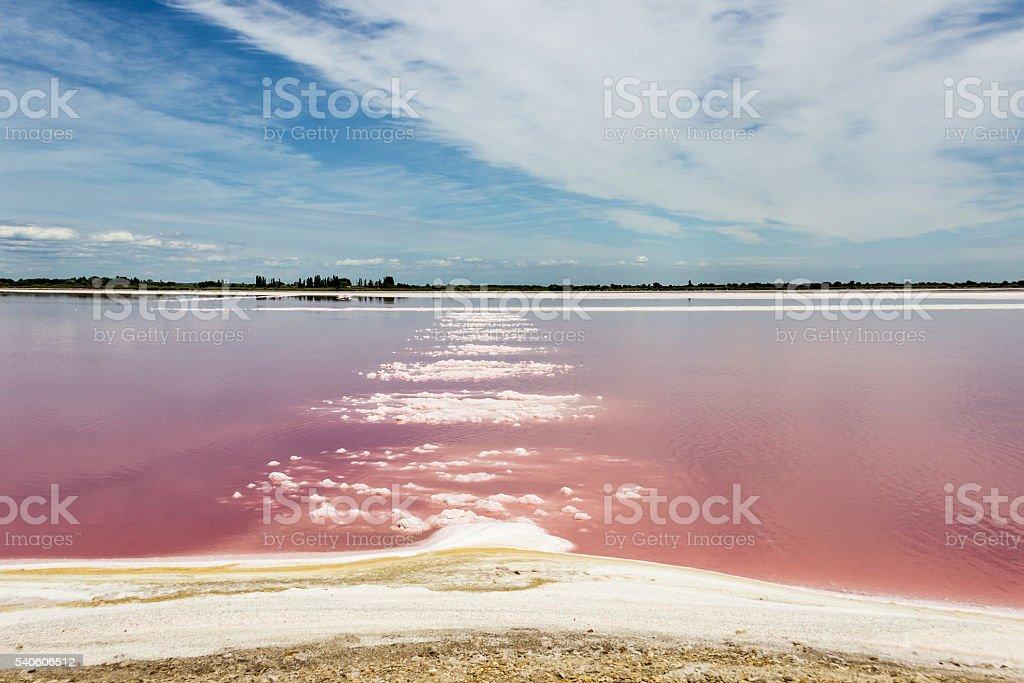 pink salt river stock photo