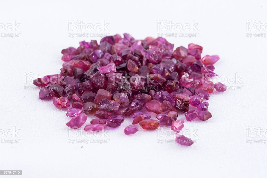 pink sapphire crystal on white background stock photo
