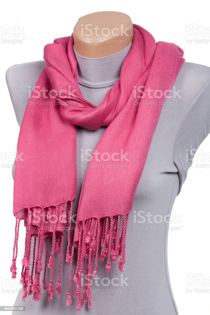 Pink scarf on mannequin isolated on white background. stock photo