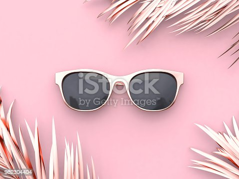 istock Pink scene abstract sunglasses summer concept 3d rendering 982304404
