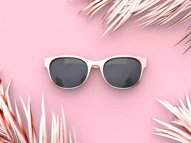 pink scene abstract sunglasses summer concept 3d rendering - okulary przeciwsłoneczne zdjęcia i obrazy z banku zdjęć