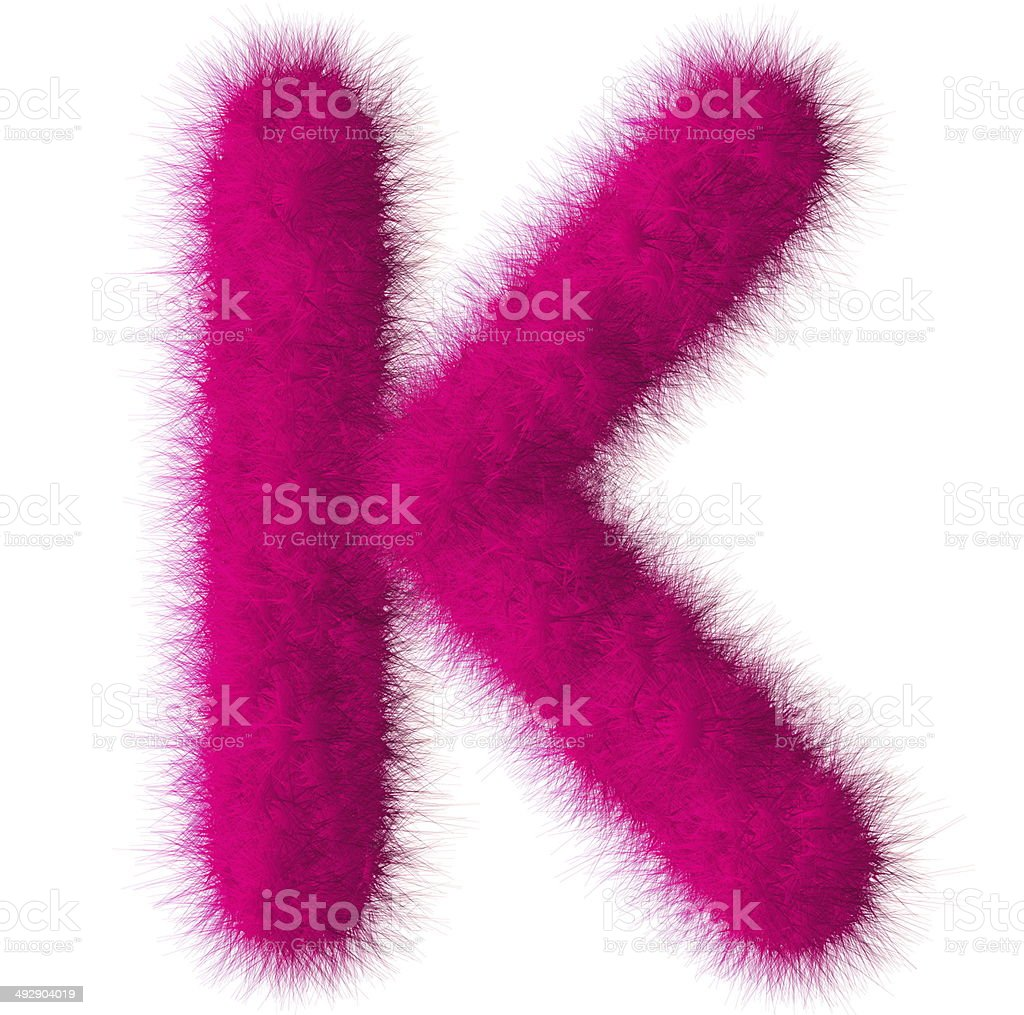 Pink Shag K Letter Isolated On White Background Stock Photo & More ...