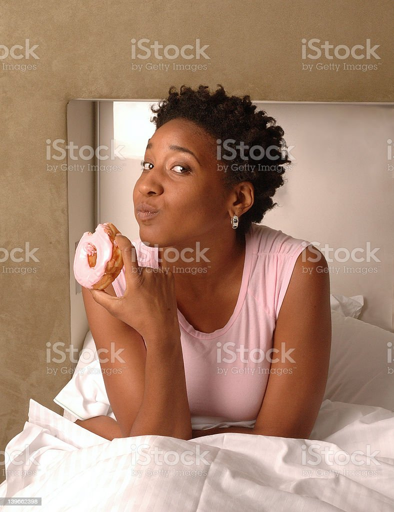 Pink Shirt and Doughnut stock photo