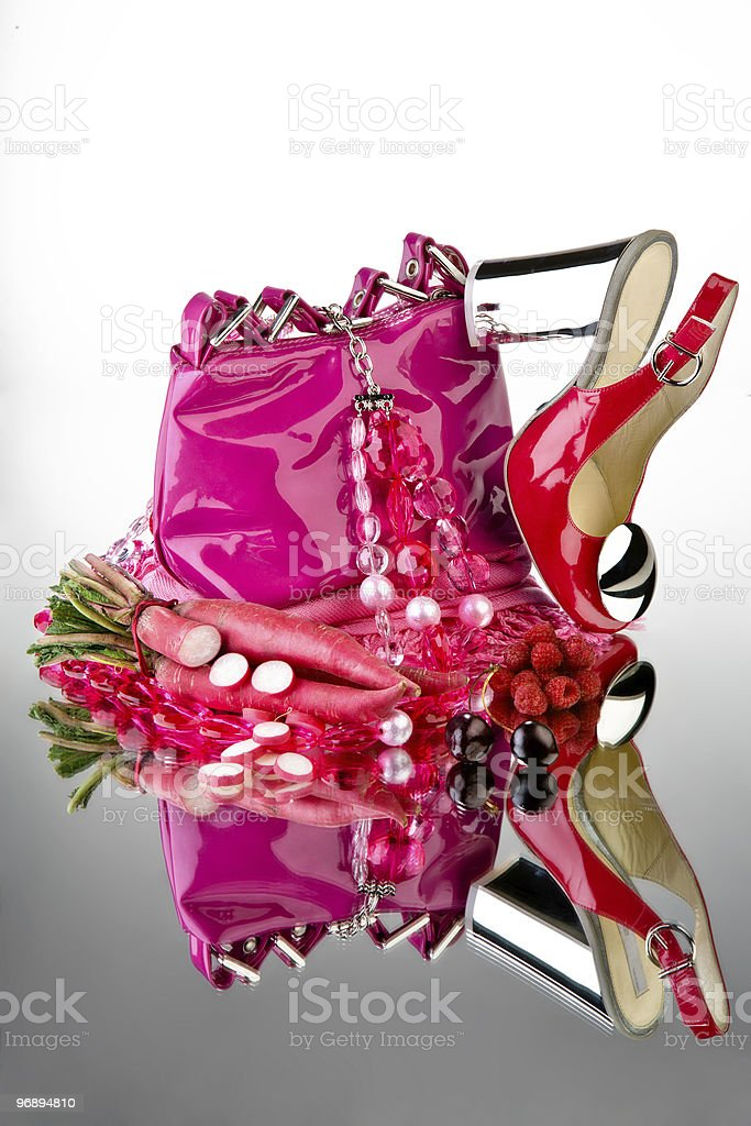 Pink shoes and purse royalty-free stock photo