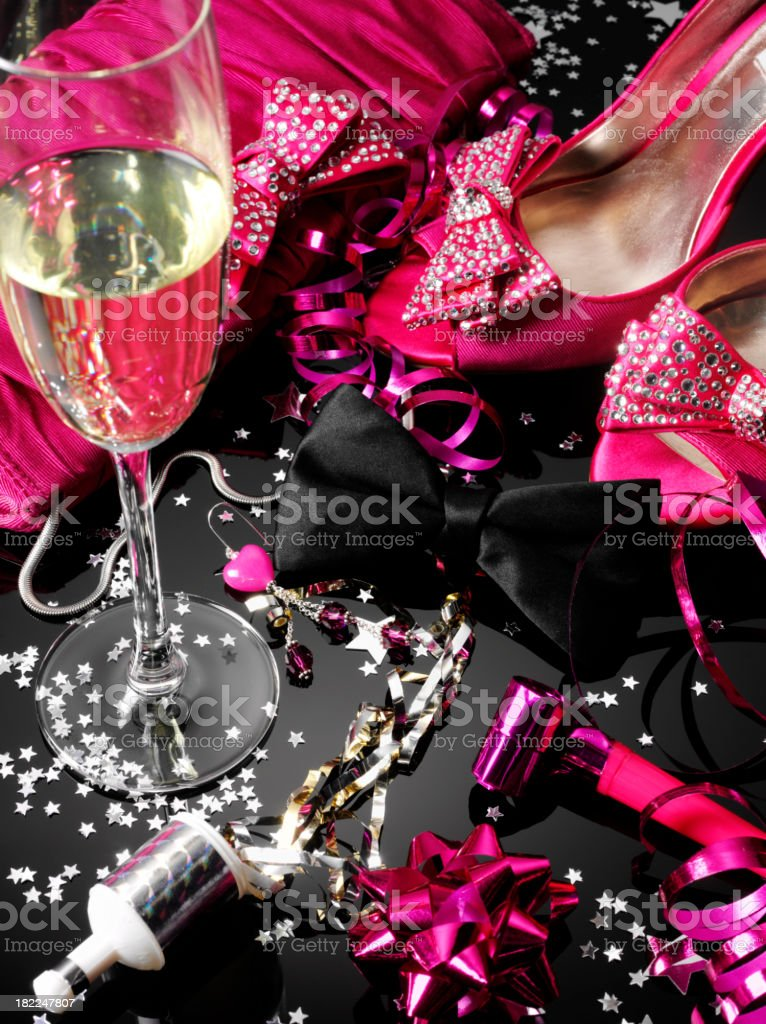 Pink Shoes, Black Bow Tie After a Party royalty-free stock photo