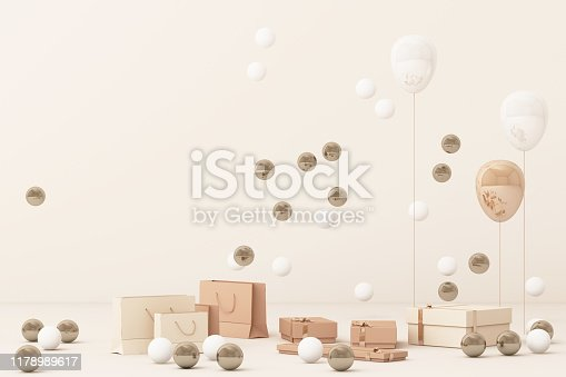 istock Pink shopping bag surrounding by a lot of giftboxs and balloons. 3d rendering 1178989617