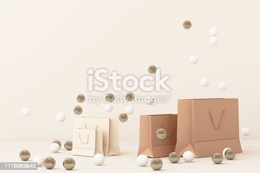 istock Pink shopping bag surrounding by a lot of gold and white ball. 3d rendering 1178989643
