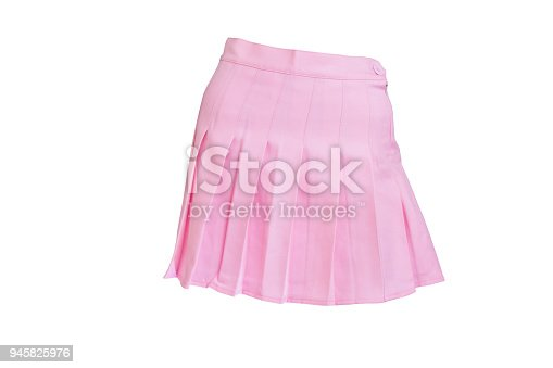 Pink short skirt, isolated on white background with clipping path.
