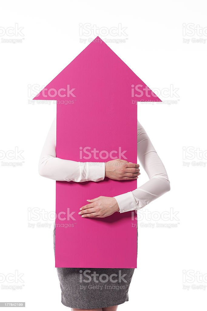Pink sign arrow points to the top royalty-free stock photo
