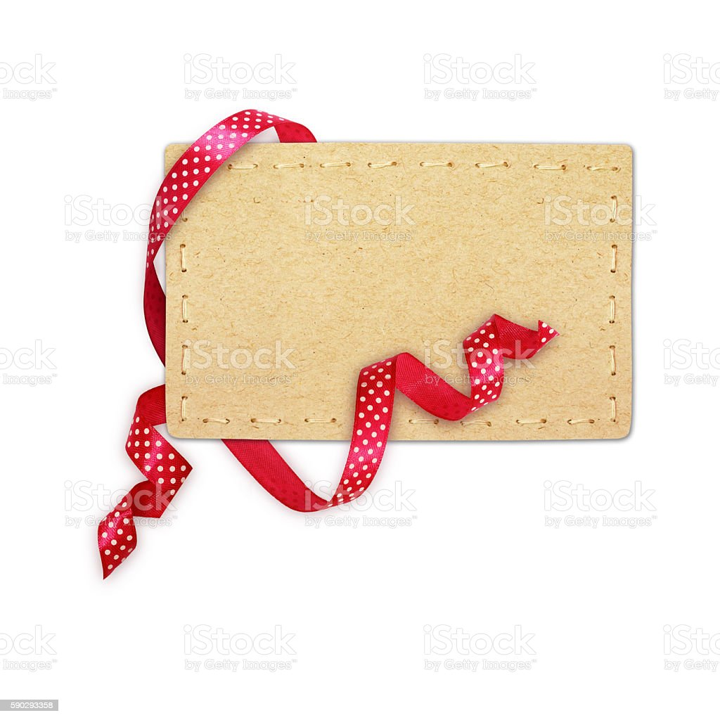 Pink silk polka dot ribbon and a card Стоковые фото Стоковая фотография