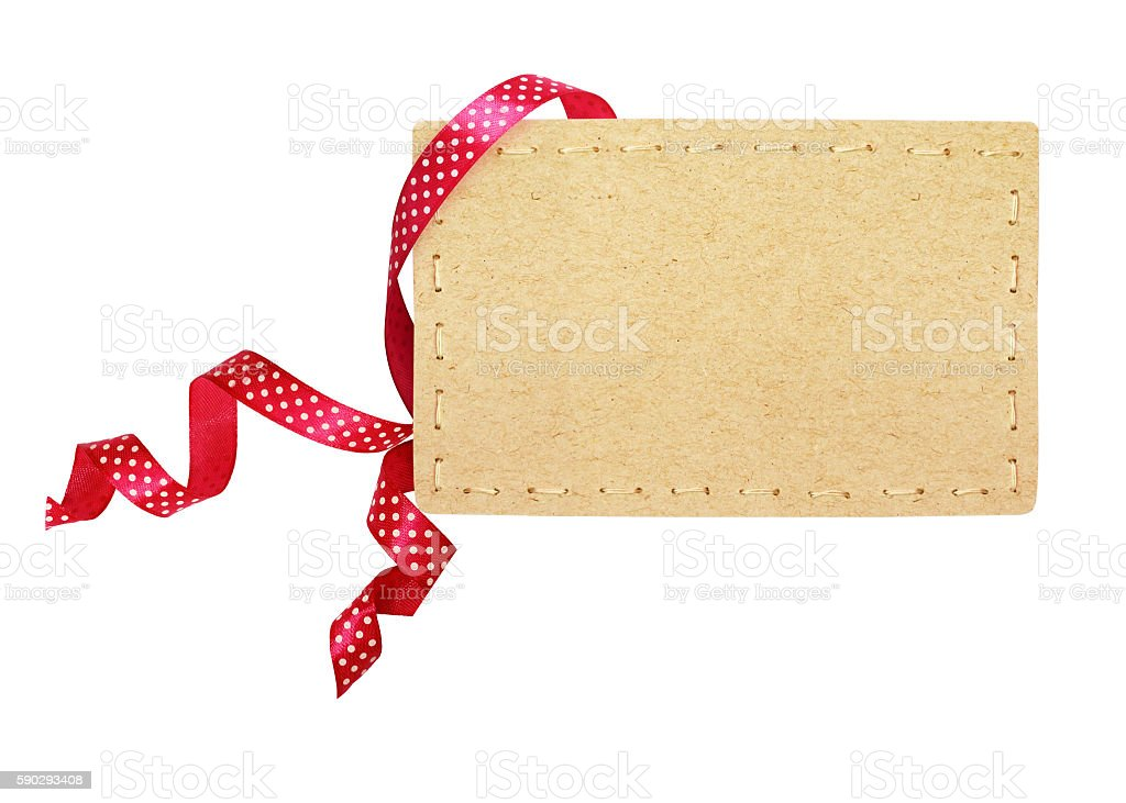 Pink silk polka dot ribbon and a card royaltyfri bildbanksbilder