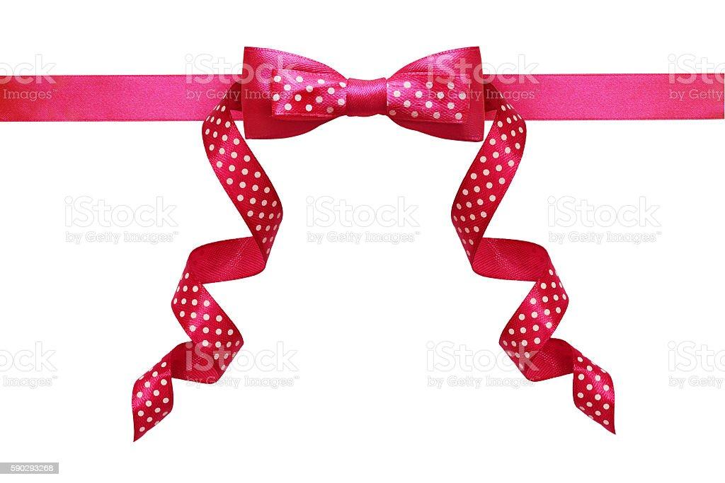 Pink silk polka dot ribbon bow Стоковые фото Стоковая фотография